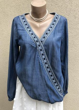 Джинсовая блуза,рубашка на запах,вышивка,этно бохо стиль,большой размер