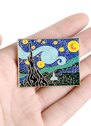 Пин винсент ван гог звездная ночь картина значок брошь брошка подарок