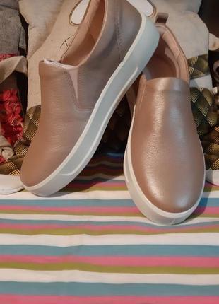 Слипоны туфли мокасины ecco