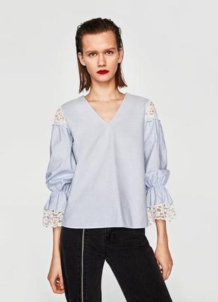 Красивая блуза блузка из натуральной ткани с элементами кружева