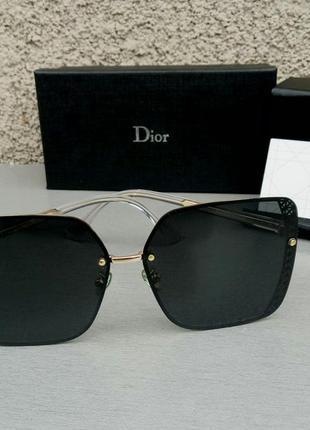 Christian dior очки женские солнцезащитные большие квадратные черные в золоте
