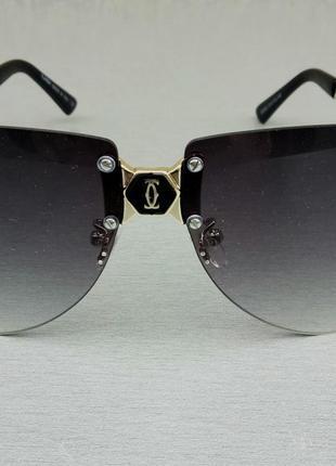 Cartier очки женские солнцезащитные серые в золоте с градиентом