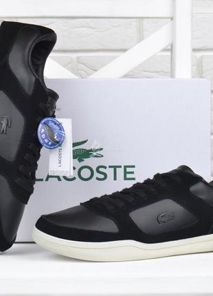 Кроссовки мужские кожаные lacoste ortholite слипоны черные