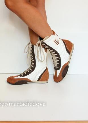 Кожаные ботинки, спортивные полусапожки, сапоги, кеды высокие, бренд loop италия