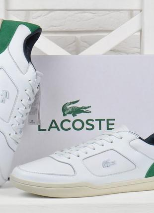 Кроссовки мужские кожаные lacoste ortholite слипоны белые