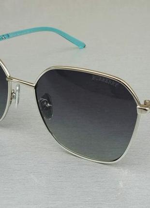 Burberry очки женские солнцезащитные серые с голубыми дужками