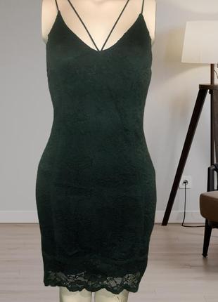 Кружевное зеленое платье,зеленое платье на бретелях,платье бутылочного цвета