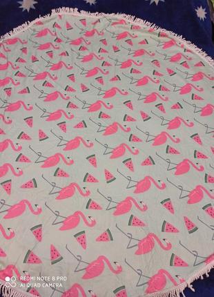 Пляжное полотенце, парео, пляжный коврик-покрывало фламинго арбуз