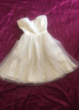 Платье короткое нарядное, котельное, на выпускной или свадебное, белое пышное jane norman