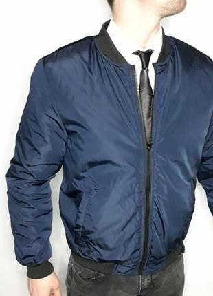 Куртка-бомбер мужская синяя