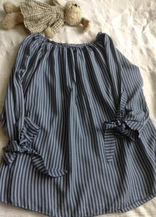 Модная полоска туника—рубаха.
