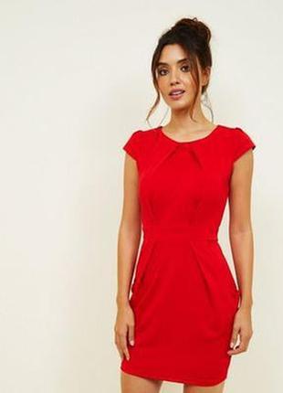 Красное нарядное повседневное платье футляр mango suit демисезон лето весна с рукавом