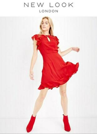 Женское красное нарядное вечернее платье с воланом кружевом коктейльное повседневное лето