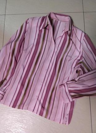 Классическая офисная блуза в полоску 20 размера