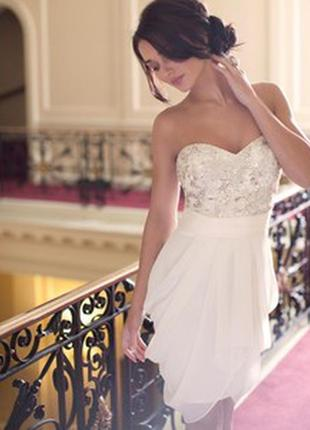 Красивое платье lipsy топ пайетки, паетки, свадебное, вечернее, выпускное, шампань