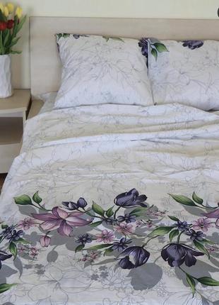Постельное белье из бязи евро размера фиолетовые цветы