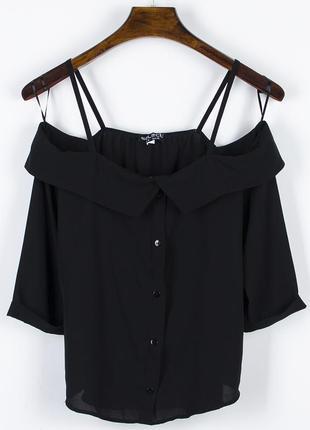 Черная блузка с открытыми плечами, весенняя блузка женская, шифоновая блузка черная