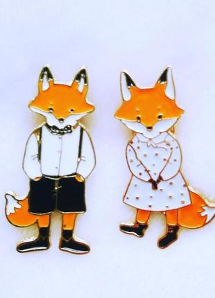 Набор значков семейство лис