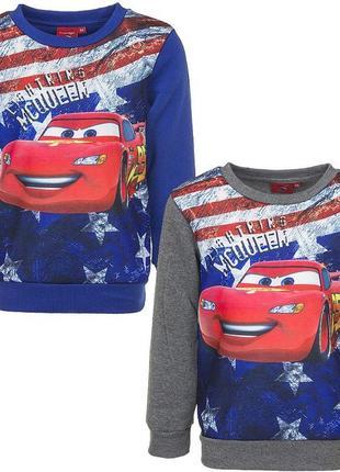 Скидка! утепленный серый, синий свитшот тачки (cars) на мальчика, disney / pixar