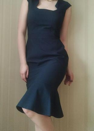 Элегантное лаконичное платье, синее платье, платье миди