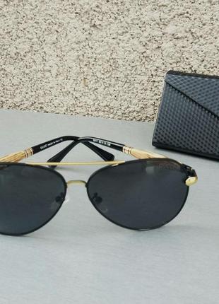 Gucci очки капли мужские солнцезащитные черные поляризированые в золотой оправе