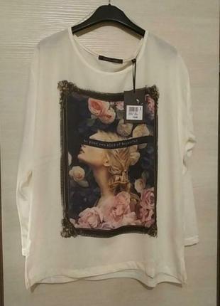 Стильныая блуза, футболка с длинным рукавом, италия