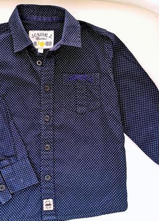 Рубашка синяя мальчику junior j от debenhams на 3-4года