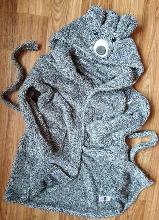 Мягкий махровый длинный халат на 7-8 лет