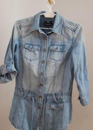 Удлиненная брендовая джинсовая куртка