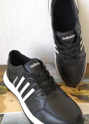 Кроссовки женские для бега и прогулок натуральной  кожи adidas очень удобные