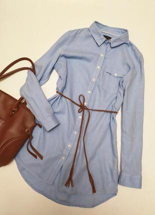 Хлопковая удлиненная рубашка с поясом