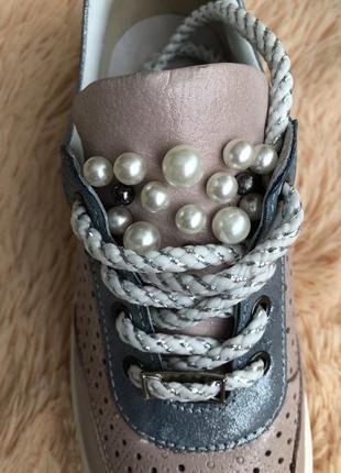 Бесподобные кроссовки кеды с перфорацией натуральная кожа пудра розовый голубой 37 новые