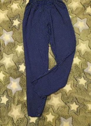 Летние синие брюки в горох, горошек , polka dot