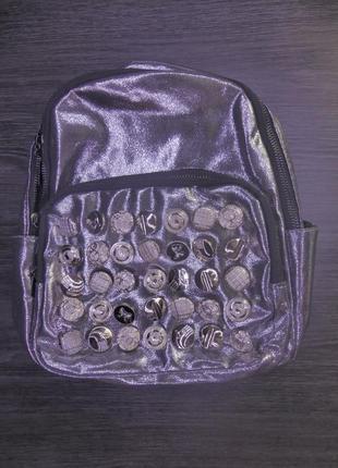 Рюкзак с пуговицами, тканевый серебристый