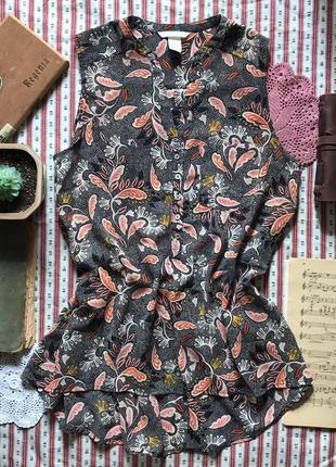 Легкая блуза блузка туника принт h&m размер 36