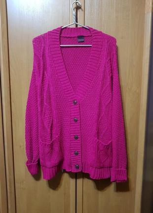 Кардиган, большой малиновый вязаный кардиган, свитер, малиновый свитерок, накидка