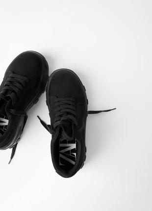 Новые замшевые туфли на толстой подошве zara
