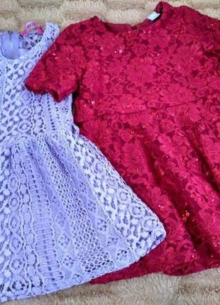Святкові мереживні платтячка кружевное нарядное платье на 2-3 года tu