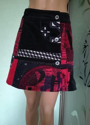 Модная вельветовая юбка на запах отdesigual