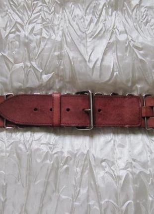 Ремень кожа металл плетеный коричневый