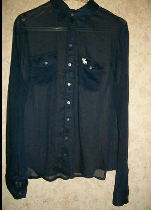 Блузка рубашка прозрачная  черная