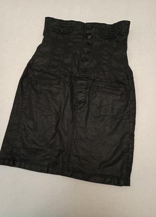 Черная джинсовая мини юбка корсет