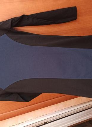 Трикотажное синее!! с черным платье