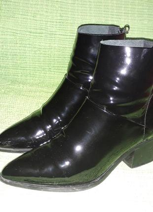 Кожаные натуральные ботильоны ботинки на каблуке #розвантажуюсь