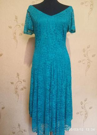 Очень красивое гипюровое платье цвета морской волны joanna hope