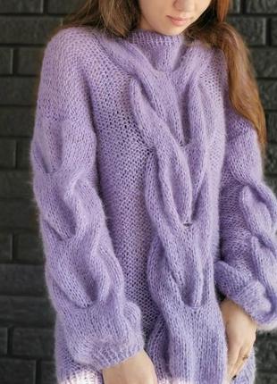 Нежный пушистый удлиненный свитер-туника🌸