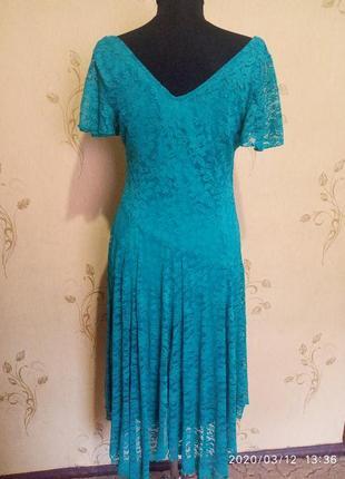 Очень красивое гипюровое платье цвета морской волны joanna hope5 фото