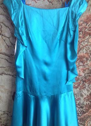 Платье изумрудное атласное xs/s