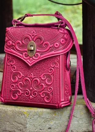 Кожаный маленький рюкзак городской женский фуксия темно-розовый яркий на лето