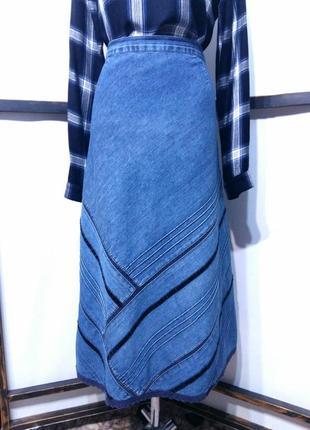 Винтажная джинсовая юбка миди в стиле бохо облегченный джинс бренд damart